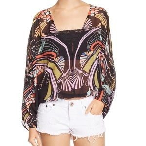 FREE PEOPLE BUTTERFLY SLEEVE TOP IN BLACK SZ XS